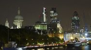 Stock Video Footage of London time lapse of St Paul's and the Gherkin at night