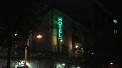 Hotel sign at night. Stock Footage