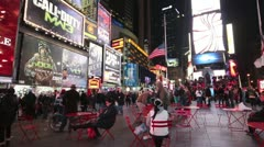 Times Square Cafe Area Stock Footage