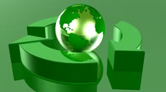 Green Recycle Globe Loop Stock Footage
