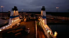Time-Lapse Cargo truck loading on to the ferry ship Finnline Stock Footage