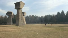 Bubanj Memorial Park - Three concrete obelisks (1) Stock Footage