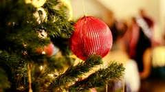 Red Bauble on a Christmas Tree - stock footage