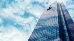 Skyscraper on clouds static Stock Footage