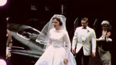 BEAUTIFUL Bride Arrives at Wedding Chapel 1960s Vintage Film Home Movie 1605 Stock Footage