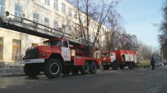Russia. Fire fighting on the street. Stock Footage