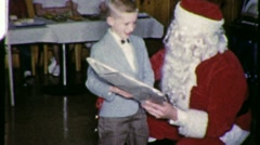 SANTA GIVES PRESENTS Children Circa 1963 (Vintage 8mm Home Movie) 1609 Stock Footage