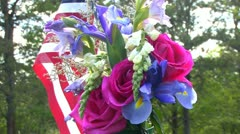 Flag and bouquet Stock Footage