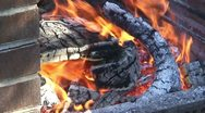 Stock Video Footage of Burning fire in outdoors fireplace 35