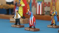 Pan of small Artisan sculptures- Puertorican Stock Footage