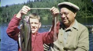 Stock Video Footage of PROUD GRANDSON GRANDFATHER Big Trout 1955 (Vintage Film Home Movie) 1615