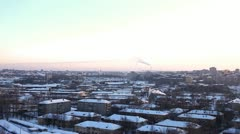 Panorama at winter city and termal power station Stock Footage