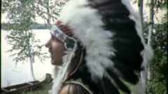 Native American Man INDIAN Ritual Drum Chief 1940s Vintage Film Home Movie 1617 - stock footage