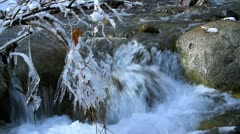 Rapid flow of water in a mountain river in winter.+sound Stock Footage