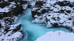 Glacial river half, Barnafoss, Iceland Stock Footage