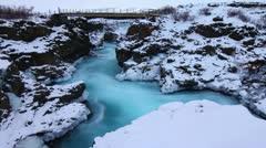 Glacial river bridge, Barnafoss, Iceland Stock Footage