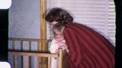 MOTHER Putting Crying Fussy Baby to Bed CRY 1950s Vintage Film Home Movie 1601 Stock Footage