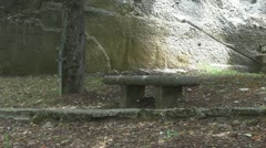 Young woman passing near a beautiful ancient stone bench Stock Footage
