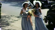 BRIDESMAIDS Arrive at Wedding Getting Married 1940s Vintage Film Home Movie 1621 Stock Footage