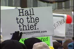Hail to the Thief - 2001 Bush Inauguration Protest Stock Footage