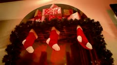 Close up of decorated Christmas fireplace with wrapped presents Stock Footage