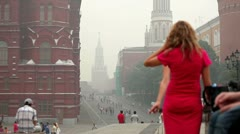 People walking on Red Square during smog from wildfires, Moscow, Russia, 2010 Stock Footage
