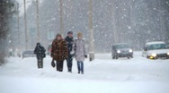 Winter street with people Stock Footage