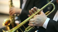 Playing on trumpet Stock Footage