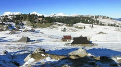 HD: Alpine Dairy Settlement in Winter Stock Footage