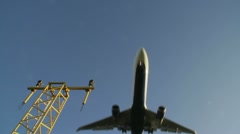 Aircraft landing low angle Stock Footage