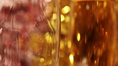 Champagne against a gold fur-tree Stock Footage