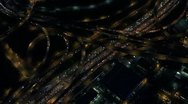Aerial Night View of Traffic at Major Interstate Intersection Stock Footage