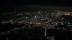 Aerial View - Space Needle at Night - stock footage