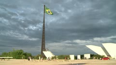 Plaza of Brazilian Congress Building - stock footage