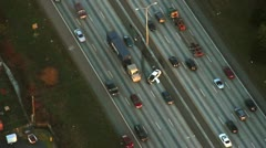 Aerial View of Highway Traffic Accident Stock Footage
