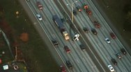 Stock Video Footage of Aerial View of Highway Traffic Accident
