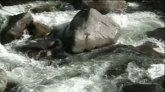 Snowy White Water Rapids In River Stock Footage