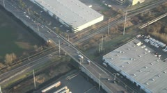 Railroad Through Industrial District - Aerial Stock Footage