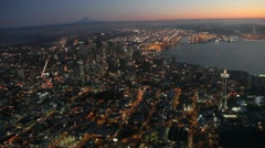 Two Aerial Night Views of Space Needle and Seattle Center Stock Footage