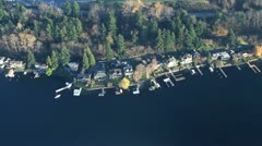 Waterfront Property Along Lake - Aerial Stock Footage