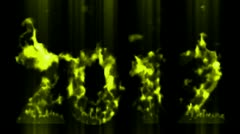Happy new year 2012,numbers 2012 burning with yellow flame and smoke. Stock Footage