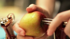 Coring of an Apple - 2 Stock Footage
