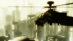 Apaches in City 02 morning haze Stock Footage