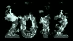 Ok_ae_00003happy new year 2012,numbers 2012 burning with flames and smoke. Stock Footage
