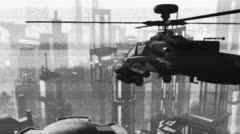 Apaches in City 14 bad bw signal Stock Footage
