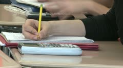 Junior high students writing in class (4 of 6) - stock footage