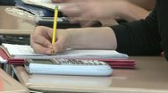 Stock Video Footage of Junior high students writing in class (4 of 6)