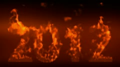 Happy new year 2012,numbers 2012 burning with flames on black background. Stock Footage