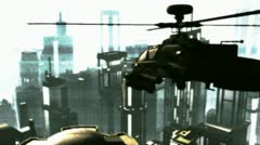 Apaches in City 17 bad signal Stock Footage