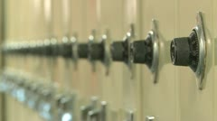 Close up of combination lock on locker (3 of 3) - stock footage